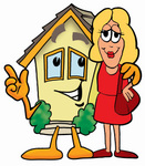 Clip Art Graphic of a Yellow Residential House Cartoon Character Talking to a Pretty Blond Woman
