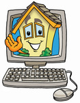 Clip Art Graphic of a Yellow Residential House Cartoon Character Waving From Inside a Computer Screen