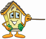Clip Art Graphic of a Yellow Residential House Cartoon Character Holding a Pointer Stick
