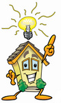Clip Art Graphic of a Yellow Residential House Cartoon Character With a Bright Idea