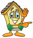 Clip Art Graphic of a Yellow Residential House Cartoon Character Waving and Pointing