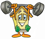 Clip Art Graphic of a Yellow Residential House Cartoon Character Holding a Heavy Barbell Above His Head
