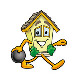 Clip Art Graphic of a Yellow Residential House Cartoon Character Holding a Bowling Ball