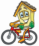 Clip Art Graphic of a Yellow Residential House Cartoon Character Riding a Bicycle