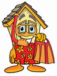 Clip Art Graphic of a Yellow Residential House Cartoon Character in Orange and Red Snorkel Gear