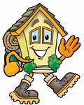 Clip Art Graphic of a Yellow Residential House Cartoon Character Hiking and Carrying a Backpack