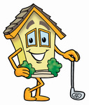 Clip Art Graphic of a Yellow Residential House Cartoon Character Leaning on a Golf Club While Golfing