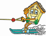 Clip Art Graphic of a Yellow Residential House Cartoon Character Waving While Water Skiing