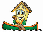 Clip Art Graphic of a Yellow Residential House Cartoon Character Rowing a Boat