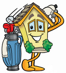 Clip Art Graphic of a Yellow Residential House Cartoon Character Swinging His Golf Club While Golfing