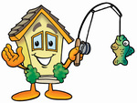 Clip Art Graphic of a Yellow Residential House Cartoon Character Holding a Fish on a Fishing Pole
