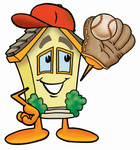Clip Art Graphic of a Yellow Residential House Cartoon Character Catching a Baseball With a Glove