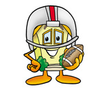 Clip Art Graphic of a Yellow Residential House Cartoon Character in a Helmet, Holding a Football