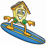 Clip Art Graphic of a Yellow Residential House Cartoon Character Surfing on a Blue and Yellow Surfboard