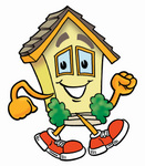 Clip Art Graphic of a Yellow Residential House Cartoon Character Walking