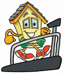 Clip Art Graphic of a Yellow Residential House Cartoon Character Walking on a Treadmill in a Fitness Gym