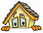 Clip Art Graphic of a Yellow Residential House Cartoon Character Peeking Over a Surface