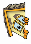 Clip Art Graphic of a Yellow Residential House Cartoon Character Peeking Around a Corner