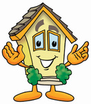Clip Art Graphic of a Yellow Residential House Cartoon Character With Welcoming Open Arms