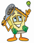 Clip Art Graphic of a Yellow Residential House Cartoon Character Preparing to Hit a Tennis Ball