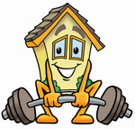 Clip Art Graphic of a Yellow Residential House Cartoon Character Lifting a Heavy Barbell