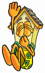 Clip Art Graphic of a Yellow Residential House Cartoon Character Plugging His Nose While Jumping Into Water