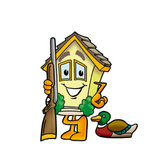 Clip Art Graphic of a Yellow Residential House Cartoon Character Duck Hunting, Standing With a Rifle and Duck