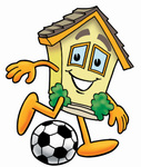 Clip Art Graphic of a Yellow Residential House Cartoon Character Kicking a Soccer Ball