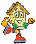 Clip Art Graphic of a Yellow Residential House Cartoon Character Roller Blading on Inline Skates