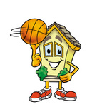 Clip Art Graphic of a Yellow Residential House Cartoon Character Spinning a Basketball on His Finger