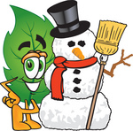 Clip Art Graphic of a Green Tree Leaf Cartoon Character With a Snowman on Christmas