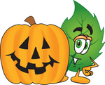 Clip Art Graphic of a Green Tree Leaf Cartoon Character With a Carved Halloween Pumpkin