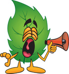 Clip Art Graphic of a Green Tree Leaf Cartoon Character Screaming Into a Megaphone