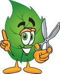 Clip Art Graphic of a Green Tree Leaf Cartoon Character Holding a Pair of Scissors