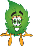 Clip Art Graphic of a Green Tree Leaf Cartoon Character Sitting