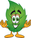 Clip Art Graphic of a Green Tree Leaf Cartoon Character With Welcoming Open Arms