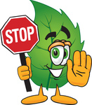 Clip Art Graphic of a Green Tree Leaf Cartoon Character Holding a Stop Sign