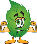 Clip Art Graphic of a Green Tree Leaf Cartoon Character Flexing His Arm Muscles
