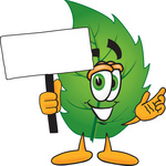 Clip Art Graphic of a Green Tree Leaf Cartoon Character Holding a Blank Sign