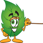 Clip Art Graphic of a Green Tree Leaf Cartoon Character Holding a Pointer Stick