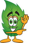 Clip Art Graphic of a Green Tree Leaf Cartoon Character Waving and Pointing