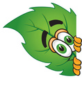 Clip Art Graphic of a Green Tree Leaf Cartoon Character Peeking Around a Corner