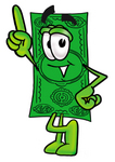 Clip Art Graphic of a Flat Green Dollar Bill Cartoon Character Pointing Upwards