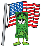 Clip Art Graphic of a Flat Green Dollar Bill Cartoon Character Pledging Allegiance to an American Flag