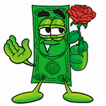 Clip Art Graphic of a Flat Green Dollar Bill Cartoon Character Holding a Red Rose on Valentines Day