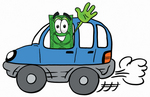 Clip Art Graphic of a Flat Green Dollar Bill Cartoon Character Driving a Blue Car and Waving