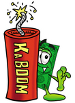 Clip Art Graphic of a Flat Green Dollar Bill Cartoon Character Standing With a Lit Stick of Dynamite