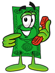Clip Art Graphic of a Flat Green Dollar Bill Cartoon Character Holding a Telephone