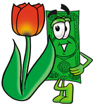 Clip Art Graphic of a Flat Green Dollar Bill Cartoon Character With a Red Tulip Flower in the Spring