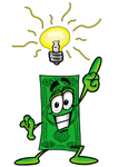 Clip Art Graphic of a Flat Green Dollar Bill Cartoon Character With a Bright Idea